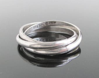 925 Sterling Silver 3 Band Interlocking Ring / Trinity Band, Vintage Size 11