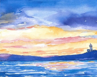 Original Watercolor  Painting Impressionistic Watercolor Ink Sunset Ocean Art Lighthouse Blue Orange Gold Crimson Nautical