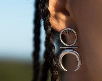 Geometric Ox Half moon crescent shape long stud Post earrings Tribal Bohemian style Earrings by Inali