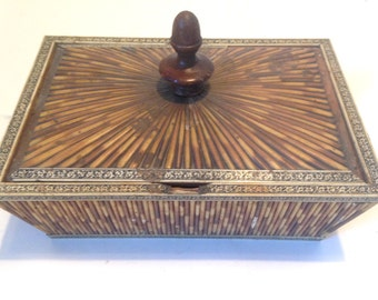 antique porcupine quill box interesting angular shape