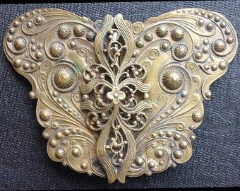 antique victorian 2 piece belt buckle with brass filagree