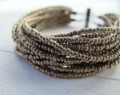 Bohemian Layered Strand Bracelet, Antiqued Silver Beaded Bracelet, Handmade Bohemian Bijoux, Czech Glass Jewelry