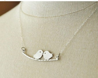 Mothers Day SALE SALE-Silver Kissing Lovebirds Necklace, Couples Necklace, Cute Necklace, Whimsical Necklace, Dainty Necklace, Sterling Silv