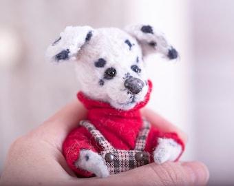 Dog dalmatian Sparky 5 inch. Teddy dog. Teddy bear. Artist bears. Stuffed animal. OOAK