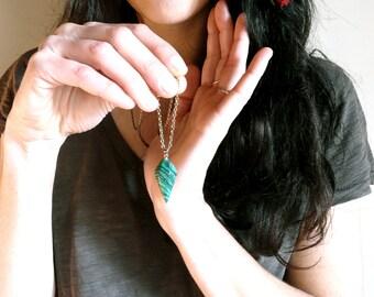 Lovely green malachite pendant necklace ( point, stone, frida Kahlo, mexican, magic, night ) 03