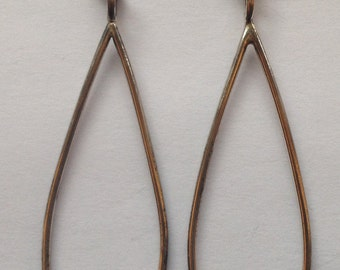 Sale Vintage Large Silver Teardrop Hoop Earrings Wires