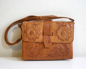 Tooled Daisy Satchel Bag