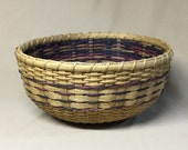 Hand Woven Round Bowl-Type Basket, Double Wall, Navy, Purple, Tan