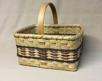 Small Hand Woven Market Basket with Rust and Blue Accents, Wood Handle