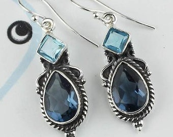 Blue Topaz Earrings, Dangle Earrings, Teardrop Earrings, Birthstone Earrings, Blue Earrings, Blue Topaz, Sterling Silver, Blue Topaz Jewelry