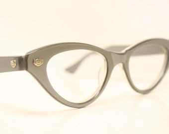 Unused Gray cat eye glasses vintage 1950s eyewear cateye frames New Old Stock