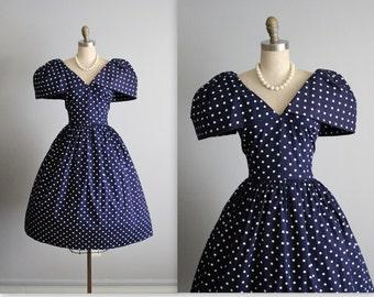 Vintage Polka Dot Dress // 80's Navy Polka-dot Cotton Big Shoulder Garden Party Full Skirt Dress L