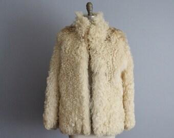 Vintage Mongolian Lamb Jacket // Vintage 70's Shaggy Mongolian Curly Lamb Fur Coat Jacket M