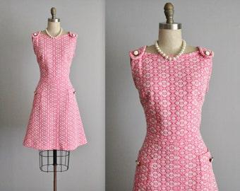 Pink Mod Dress // Vintage 1970's Vibrant Pixel Mod A Line Casual Jumper Day Dress L