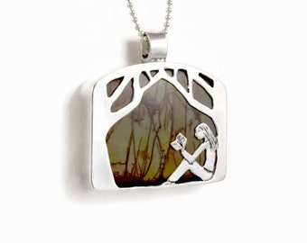 Book Readers Jewelry, Silver Forest Jewelry, Book Lover Jewelry Gift, Robin Wade Jewelry, Scout Enjoys Reading In The Forest Pendant, 2314