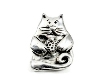 Cat Jewelry For Women, Sterling Cat Jewelry, Sterling Silver Cat Jewelry, Robin Wade Jewelry, Cat Kona Shares Her Heart, Kitty Jewelry, 2168