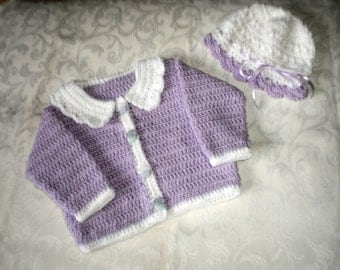 Girls Orchid Sweater and Hat Set for 24 months