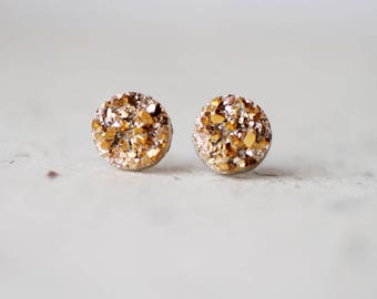 Gold Tone Faux Druzy Studs - Metallic Shimmer - Faux Raw Crystal Post Earrings - Sparkling Jewelry BUY 2 GET 1 FREE