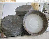 Antique Zinc and Milk glass Jar lids Cover Lid
