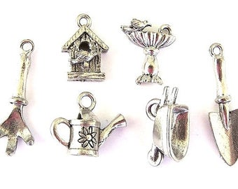Gardening charm set, very high quality, birdhouse, bird bath, cultivator, wheelbarrow, watering can, trowel, antiqued silver, 6 charms