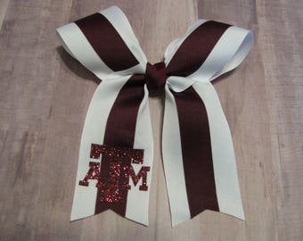 3601 white and maroon ATM Cheer bow