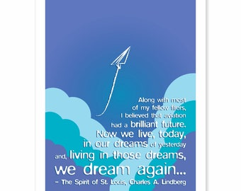Graduation Gift Typography Print - We Dream Again - motivational Lindberg quote - aqua sky blue turquoise teal purple clouds paper airplane