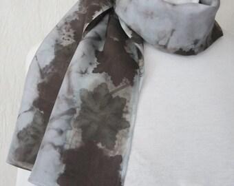 New silk scarf .Habotai silk scarf.Handmade. Eco print .Leaf pattern. Scarf. Eco dye.Multicolor. grey,brown, lavender,blue