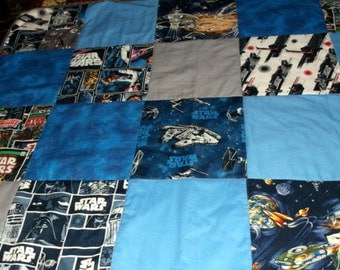 """STAR WARS QUILT appx 39""""X40"""" baby/toddler/lap/wall hanging Price Reduced/  Baby Shower Gift for Star Wars Trekkie"""