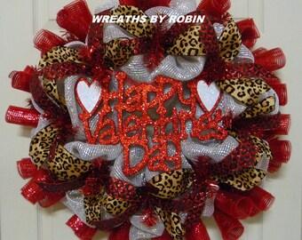 CLEARANCE - Happy Valentines Day Wreath, Front Door Wreath - Item 2458