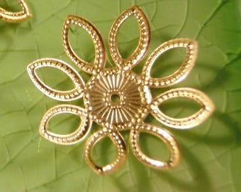 10 gold flower filigree leaves bead cap end findings flowers caps leaf fall wrap fancy 21mm - C0589-10