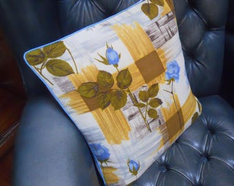 RETRO Rose circa 1950s Cushion cover in genuine Barkcloth Vintage Fabric Yellow / Mustard / blue