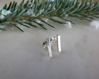 Square Bar Studs, Sterling Silver Bar Studs, Square Bar Earrings, Silver Studs, Minimal Earrings, Geometric Studs, Gift for Her, Gift under