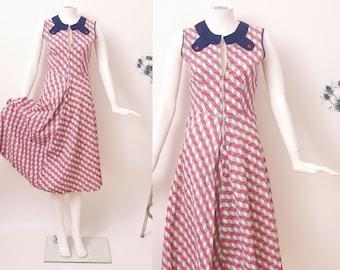1940s Seersucker Dress / 40s Zipper Dress / 40s