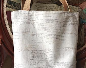 Book bag, NY Public Library print, tote