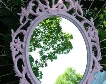 ON SALE Pink Mirror , Ornate Mirror, Pink Mirror, Nursery Mirror, Oval Mirror ,Choose Color, Size 33 1/2 x 23 1/2