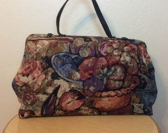 Vintage 1980s 1990s Tapestry Art Travel bag by J.Conn Large, Great Weekender Carryon bag purse