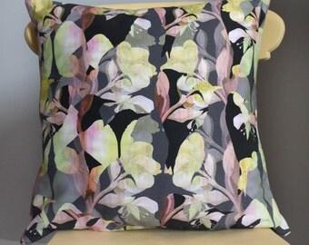 Bird and Flower Print Cushion
