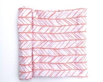 Muslin Swaddle Blanket- PEACH HERRINGBONE- receiving blanket- peach swaddle blanket- cotton blanket- baby blanket- newborn wrap- girl baby