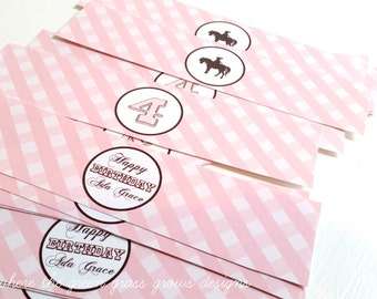 Pony Party Water bottle Labels Gingham