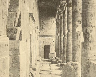 PHILAE The Temple of Isis Interior Unused Antique Postcard Black and White View Egyptian Postcard