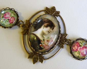 Victorian Lady Bracelet, Art Nouveau Pink Roses Charm Bracelet, Shabby Chic Bracelet, Topaz Brown and Rose Pink Cuff Bracelet, Mother's Day