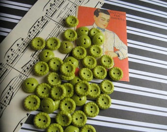 Lot/35 Vintage Yummy Chunky Lime Buttons...new old stock...1940s.
