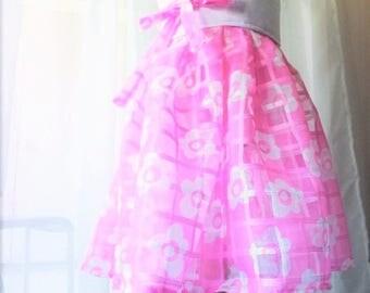 Pink Floral Organza Wrap Dress