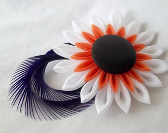 Organza Flower Hair Clip with Purple Feathers Tsumami Kanzashi