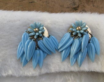 Lucite Clip on Earrings Dangling Leaves in Baby Blue Fun and Unique Waterfall Style Beaded Clip on Earrings Light Blue with Leaves