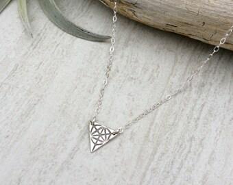 Dainty Triangle Necklace / Minimalist Necklace/ Geometric Necklace/ Triangle Necklace/ Sacred Geometry / Sacred Geometry Necklace /Zen / PMC