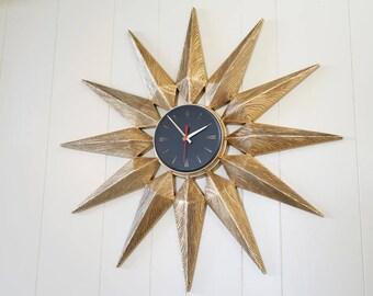 "Large 33"" Vintage Starburst Wall Clock Elgin - Sunburst Star Atomic Eames Era Mid Century Modern 1950's 60's Burwood"
