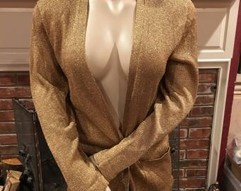 Vintage Retro Gold Metallic Sweater Cardigan with Pockets