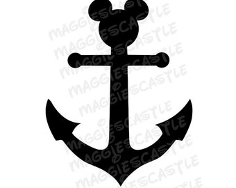 DIY Vinyl Iron On Mickey Mouse Silhouette Anchor - Iron On