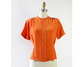 Back Button Blouse S • 50s Blouse • Vintage Blouse • Orange Top • Silk Blouse • Button Up Blouse • Vintage Blouse • Button Up Shirt | T576